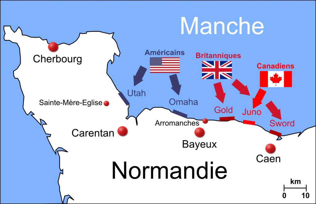 Carte du débarquement : Utah, Omaha, Sword, Juno, Gold