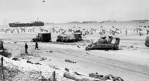 Une plage d'Omaha l'après-midi du 6 juin