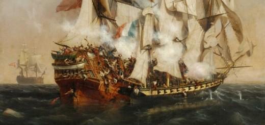Le corsaire La Confiance aborde le bateau anglais le Kent. huile sur toile de Garneray, musée de la Roche-sur-Yon.
