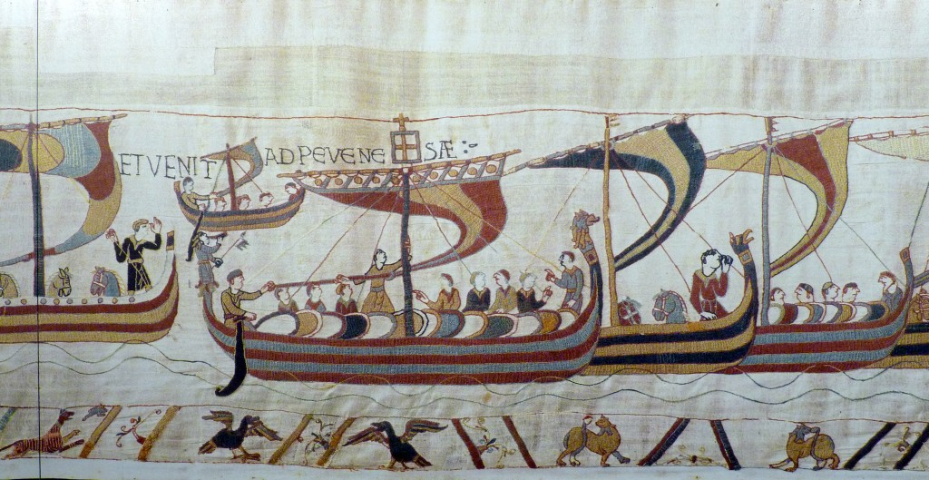 Tapisserie de Bayeux, le départ des bateaux normands.