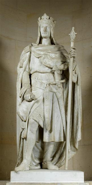 Philippe II dit Philippe Auguste, roi de France (1165-1223). Statue du château de Versailles, par Jean Louis Nicolas Jaley. RMN.