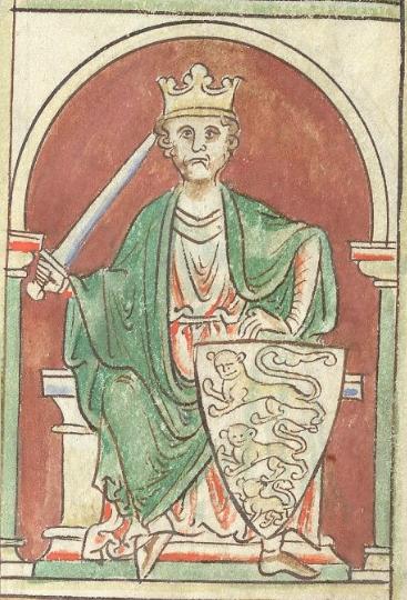 Le roi d'Angleterre Richard Cœur de Lion et son blason orné de trois léopards.