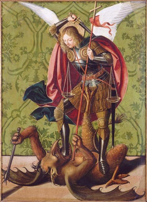 Peinture de saint Michel face au mal